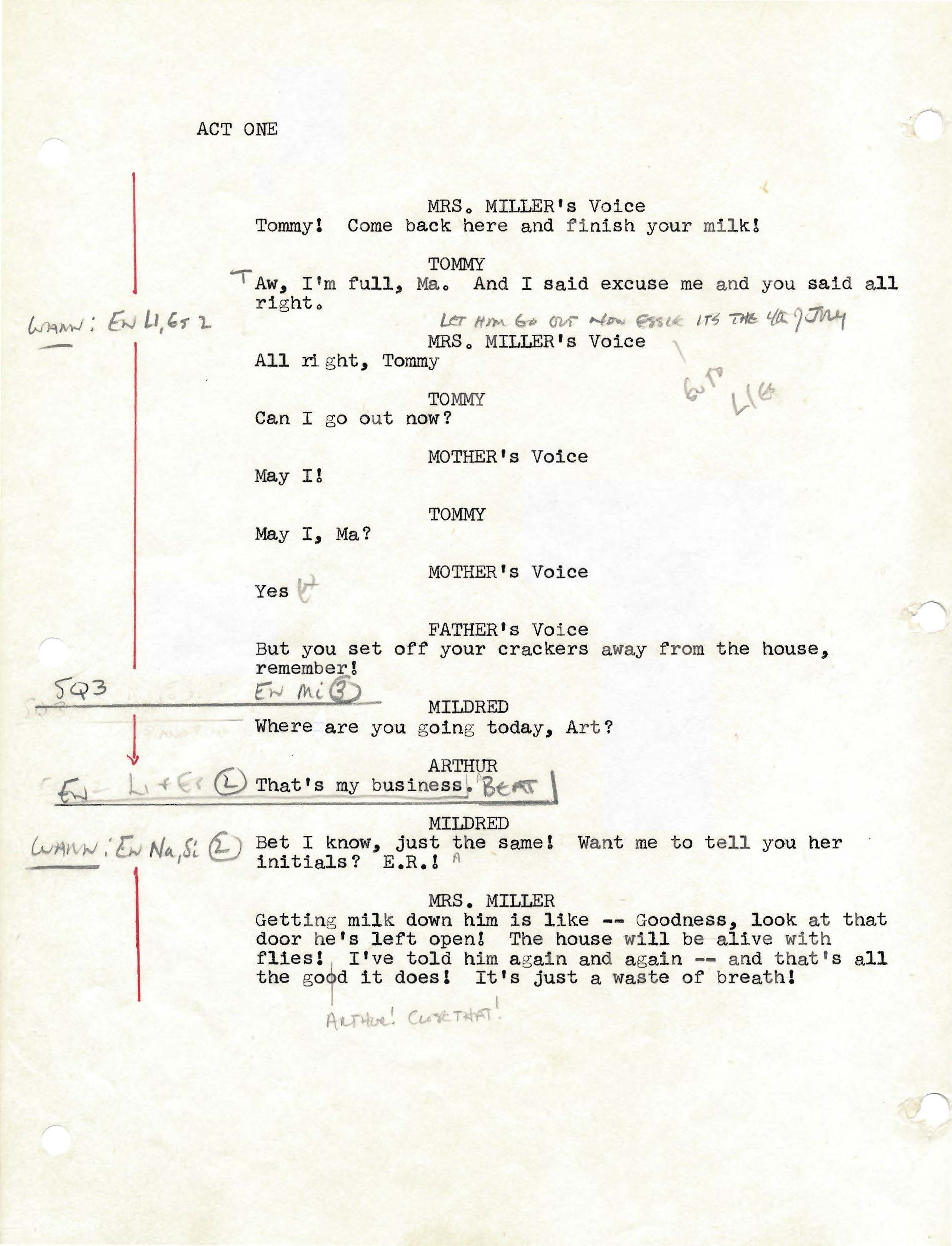 Script from the 1978 Arena Stage Production with notes from director Edward Cornell