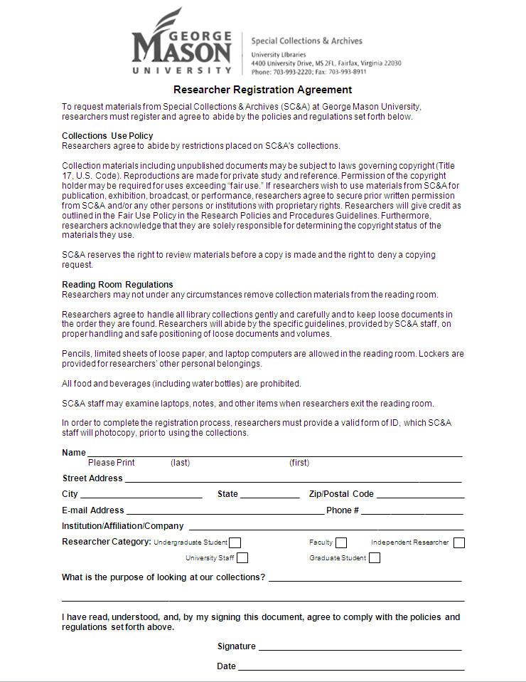 Researcher Registration Agreement