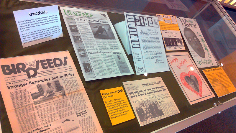What's in a Name exhibit case featuring examples of special issues of the Broadside