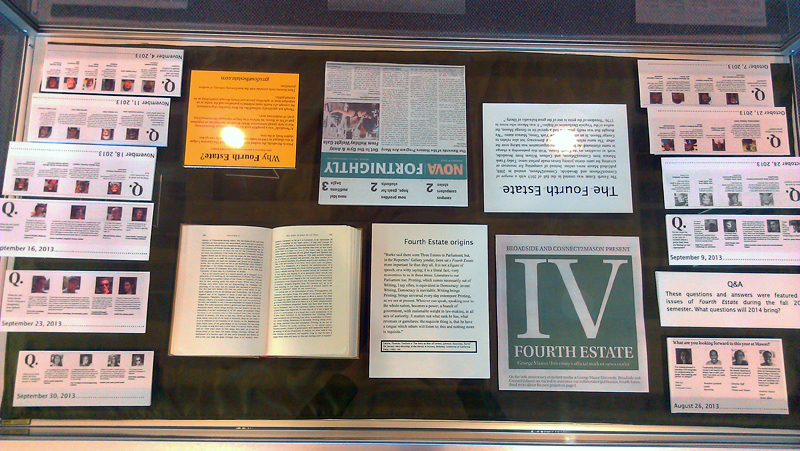 What's in a Name exhibit case featuring the latest name change Fourth Estate.