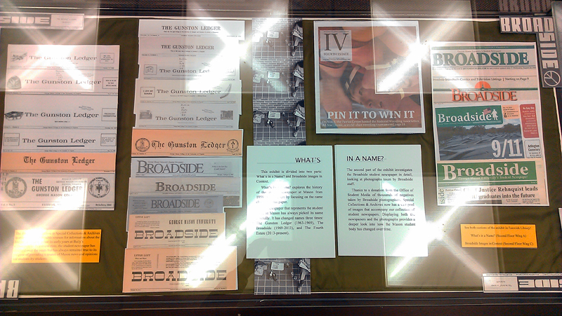 What's in a Name case with examples of the changing front covers of the student newspaper.