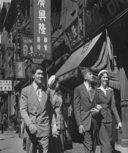 High School students from Ozark, Arkansas visit Chinatown in New York City, May 1950.  Oliver Atkins Photograph Collection Box 12, Folder 13. Copyright not held by George Mason University Libraries. Restricted to personal, non-commercial use only. For permission to publish, contact Special Collections and Archives. Images taken for the Saturday Evening Post are © Saturday Evening Post.