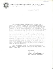 """Doc. 2 Document from LWVFA President, Sue Anderson, in February 1984 regarding equal pay. Document is from League of Women Voters of the Fairfax Area Records, Collection # C0031, Box 14, Folder 01, """"Letter from League of Women Voters of the Fairfax Area dated February 27, 1984,"""" Special Collections Research Center, George Mason University Libraries."""
