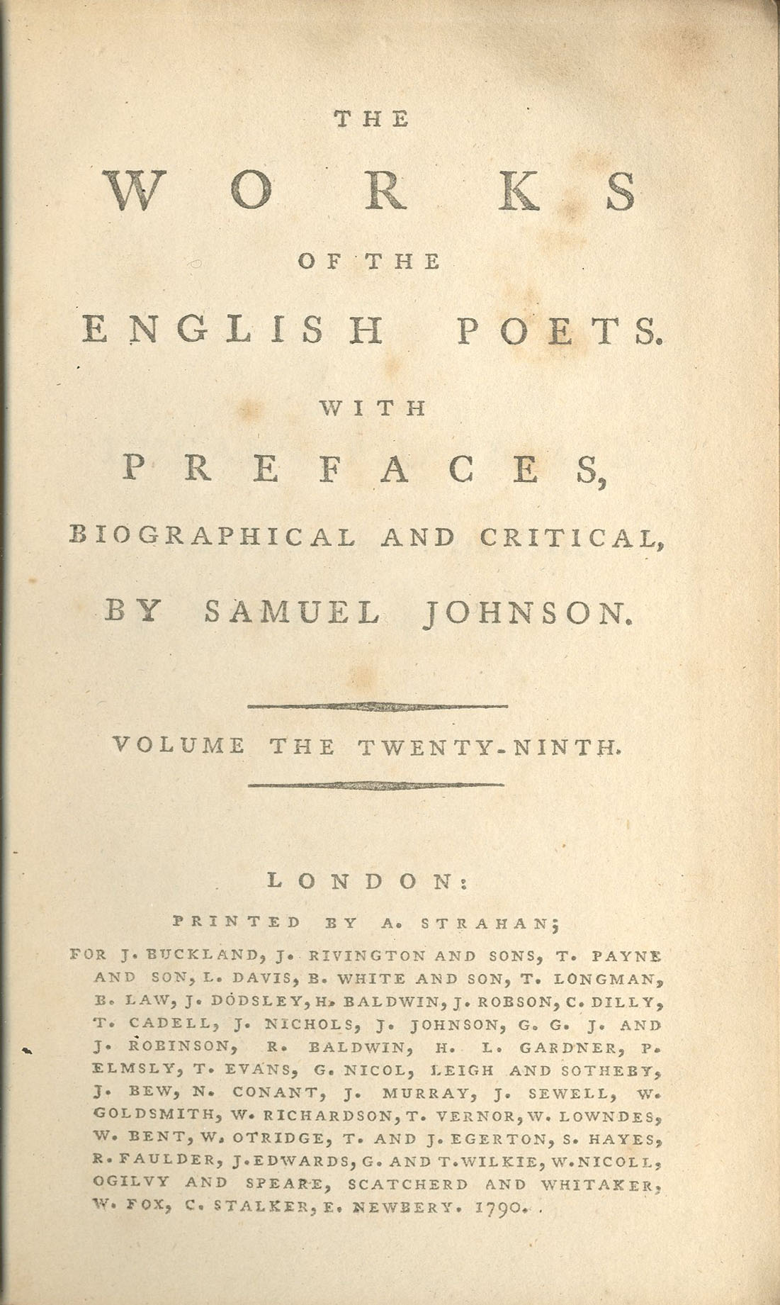 Johnson, Samuel, The Works of English Poets , v.29 of 75, PR1171 .J6, Special Collections Research Center, George Mason University.