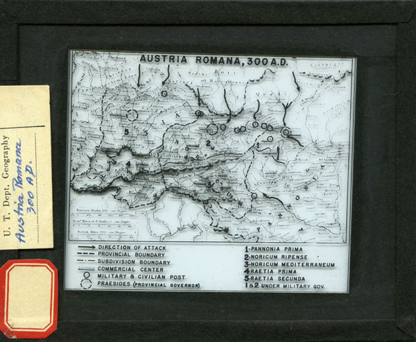 Map of Austria Romana with military maneuvers. Christine Drennon European lantern slide collection # C0068, Box 1, Folder 15. Special Collections Research Center. George Mason University.